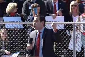 Rubio calls Trump 10 times at one rally